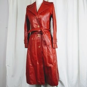 Vintage Learsi Rust Leather Belted Trenchcoat